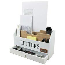 Briefablage 3 Fächer + Schubfach Schreibtisch Organizer Briefhalter Briefständer