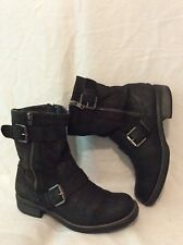 Next Black Mid Calf Leather Boots Size 4