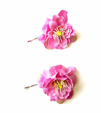 2x Pink Wildflower Flower Hair Grips Clips Bridesmaid Bobby Pins Slides 2112