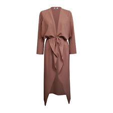 Womens Ladies Maxi Long Sleeve Waterfall Belted Duster Coat/ Jacket S/M-XXL