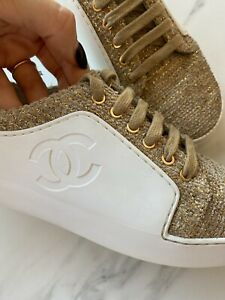 CHANEL Sneakers Tweed Gold White Leather Limited Edition EU 37.5 US 7.5