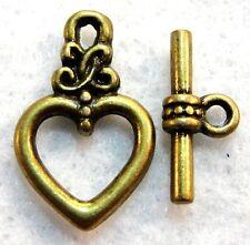 50Sets Wholesale Tibetan Antique Bronze Heart Toggle Clasps Hooks Q0988