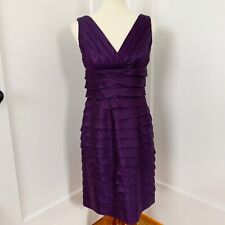 Adrianna Papell Purple Ruffle Cocktail Dress. Size 6