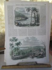 Vintage Print,SKANEATLES LAKES,New York,Color,1850s