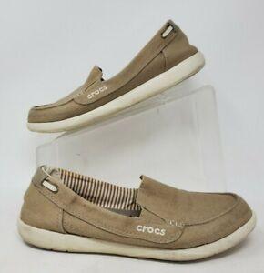 Crocs Walu Loafer Flat Comfort Shoes Moc Toe Slip On Canvas Khaki Womens 8W