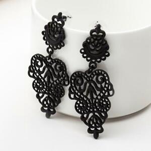 Fashion Bohemian Ladies Long Drop Dangle Vintage Flower Leaf Women Stud Earrings