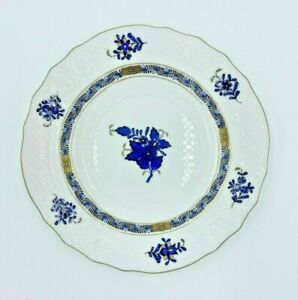 NWT Herend Porcelain Chinese Bouquet Black Sapphire Flower Floral Dessert Plate
