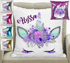 Unicorn Personalised Magic Sequin Mermaid Cushion Pillow Cover 5 Colours