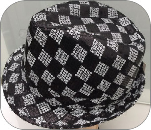 Adults Black & White Chequered Trilby Fedora Pattern Party Fancy Dress Hats