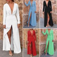 Women Deep V Neck Party Evening Ball Gown High Split Full Length Long Dress Robe
