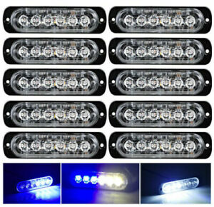Yifengshun 8 in1 LED Emergency Strobe Lights For Truck Vehicle Warning Flashing Caution Light Bar Grilles DRL Police Motorcycle DC12V Wireless Remote Control White