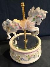 "Glama Ceramic Carousel Horse and Base plays ""Carousel Waltz""  Rotating Music Box"