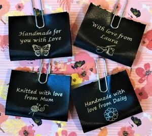 """""""Handmade"""" personalised sew-in craft labels for fabric, black satin ribbon"""