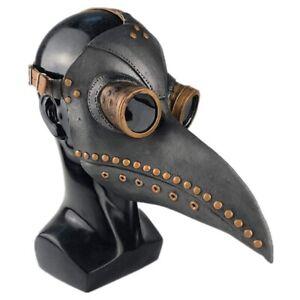 UK_ HD_ Plague Doctor Long Nose Beak Steampunk  Halloween Props Adults Kids