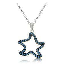 Sterling Silver Nano Simulated Turquoise Starfish Necklace