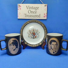 Prince Charles Lady Diana Royal Wedding * Hornsea Pottery 2 x Mugs + Plate EXC