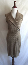 Calvin Klein Shawl Collar Ribbed Cable Knit Sweater Dress Sleeveless Size Medium