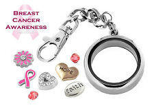 Breast Cancer Awareness DETACHABLE Glass Locket Key Chain Set & Floating Charms