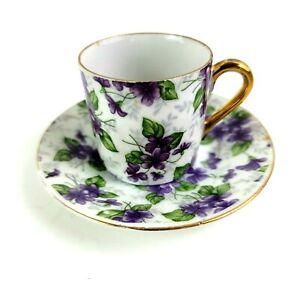 GC Japan Teacup and Saucer Purple floral with Gold trim E-563/L Demi Tasse