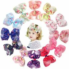12Pcs 6inch Bows Clips Big Spring Flowers Hair Bow Alligator Clips For Baby Girl
