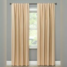 Threshold Small Check 99.9% Blackout Tan One Panel Window Curtain 50x84