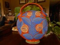 Made in Mexico Wedding Vase Vibrant Blue Floral Orange Artist Unsigned Glued