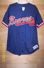Vtg Atlanta Braves MLB Majestic 125th Anniversary Button down Jersey Mens L Sewn