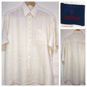 "Mirto Luxury Linen Shirt Cream White Windowpane Check Size Large / XL Pit 24"""