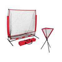 5x5 FT Portable Baseball Practice Hitting Training Net w/ Bag +  Ball Caddy