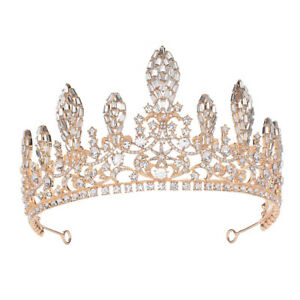 Luxury Crystal 7cm High Adult Gold Wedding Bridal Party Pageant Prom Tiara Crown