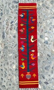 """Zapotec Oaxacan 8""""x39"""" Red Hand Woven Birds Home Table Wall Wool Tapestry Rug"""