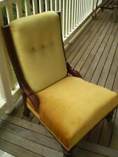 1900s mahogany Grandmother chair vintage gold & green velvet seat & back