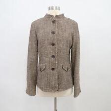 S Max Mara Blazer Jacket Tweed Womens US10 Brown Stand-Up Collar Single-Breasted