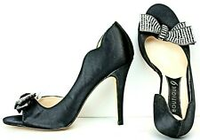 Boutique 9 Womens Pump Size 9.5 M Black Satin Jeweled Bow Stiletto Heels WH68