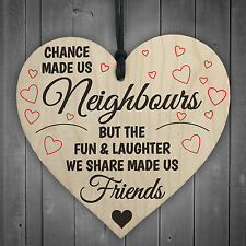 Red Ocean Chance Made US Neighbours Novelty Wooden Hanging Heart Plaque