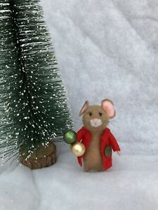 """Needle felted mouse """"Klaus"""" Ooak Animal Mice Gift Craft Handmade With ❤️ Xmas"""