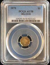 """1870 California Fractional Gold $1 """"Goofy Head"""" BG-1118 PCGS AU58"""