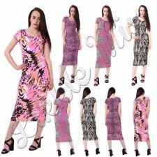 Animal Print Dresses for Women with Cap Sleeve Midi
