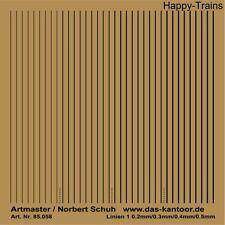 Artmaster 85.058 Linien 1 Schwarz Trockenanreiber, Aufkleber H0,1:87*85058