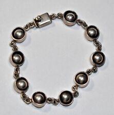 """Lovely Vintage Mexico Solid Sterling Silver 925 MODERNIST BALL Link Bracelet 7"""""""