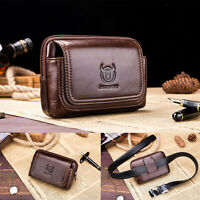Men Genuine Leather Belt Waist Bag Pack Wallet Case Pouch for 5-6 in Cellphone