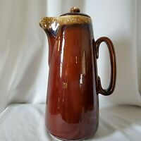 "Vintage Hull USA Brown Drip Glaze Coffee Pot With Lid 11"" Tall"