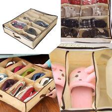 2Pcs Home Storage Shoe Organizers 12 Cells Under Bed Bag Foldable Closet Boxs