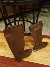 Womens Brown Knee High Zip Up Boots Size 6 With Gold Heel Plate