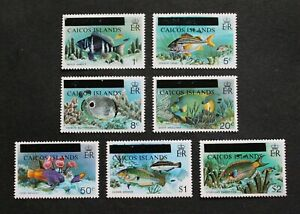 CAICOS ISLAND - 1981 SCARCE FISHES OVERPRINTED FULL SET MNH RR
