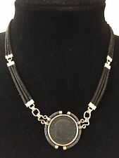 18k yg ancient Roman coin with sterling rim triple black cord necklace clasp