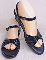 SAS Women 8 S Sandal STRIPPY Patent Leather Black Tripad Comfort Wedge Slingback