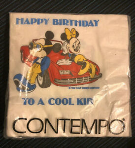 Vintage Happy Birthday Party COOL KID Micky Mouse Minnie Car Napkins 20 NIP