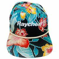 VINTAGE Raychem Multicolor Tropical Floral Braided Rope Snapback Cap Trucker Hat