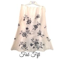 Country Casuals Silk Linen Lined Skirt Cream with Navy Floral Embroidery 14